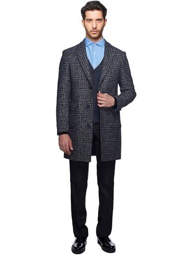 Altınyıldız Classics Ekose Desenli İngiliz Yaka Klasik Yün Palto Siyah